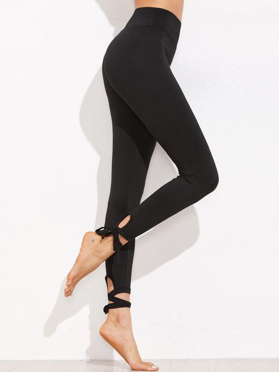 Leggings Avec Lacet - Noir