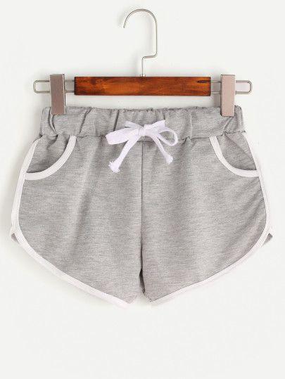 Shorts Cordon de réglage bordure contrastante - gris