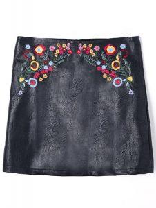 Mini jupe brodée en cuir