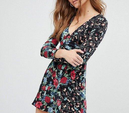 Robe cache-cœur à imprimé fleurs
