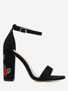 Sandale talon fleur brodé