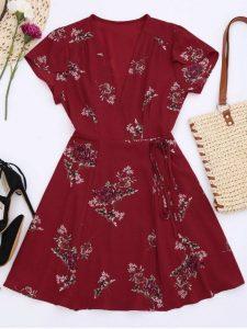 Robe floral à manche courte